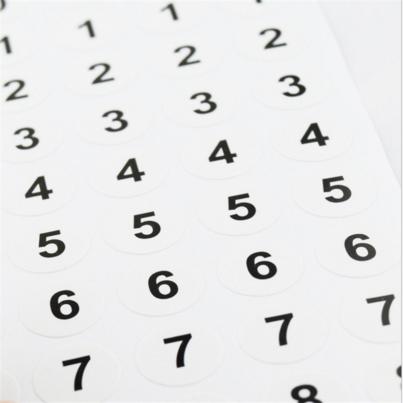 280pcs Numbered Sticker 0 9 Sequential White Small 1cm Round Circle
