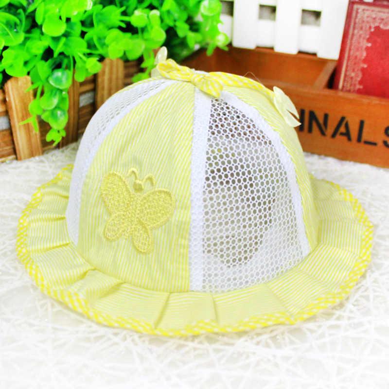 Gorro de verano para bebé, sombrero de princesa recién nacido, sombrero de red, sombrero de mariposa para niños