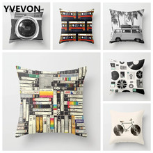 Vintage Camera Cushion Cotton Cover Retro Bicycle Throw Linen Pillow Case Vinvl Records Tape Sofa Couch Seating Bag 45cm 18in