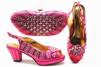 Beautiful fuchsia women pumps match handbag set with crystal african shoes and bag for party dress X47