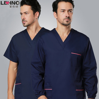 Brands LEHNO No Fading Men's Scrub Uniforms Surgical Clothing Washing Clothes Cotton Doctor Clothing Top+Pant 2pcs Set