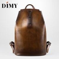 DIMY пояса из натуральной кожи рюкзак для мужчин Джентльмен должен телячьей рюкзаки ручной патина 2019 Новые Мужская сумка сумки на плечо