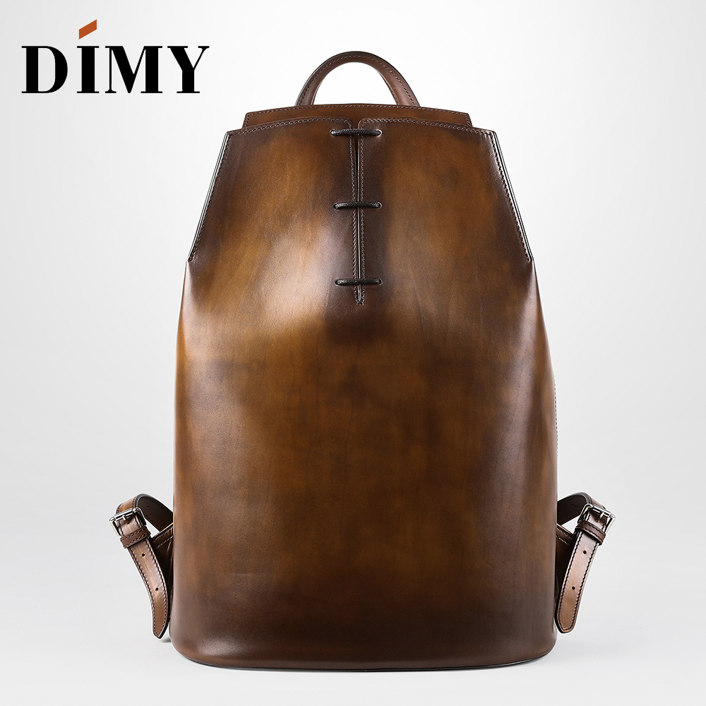 DIMY Genuine Leather Backpack For Men Gentleman Must Calfskin Backpacks Hand Patina 2019 Newest Men's Bag Shoulder Bags