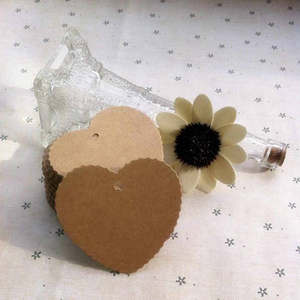100 יחידות חתונה בצורת לב Tabel קישוט כרטיס הודעת מילה תגי מתנת נייר ריק קראפט מזון חום תווית אריזה
