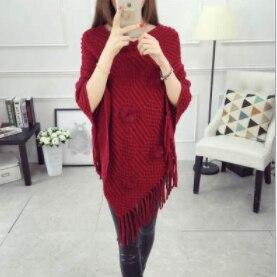 Женский весенне-осенний вязаный свитер, пончо, пальто, однотонный элегантный пуловер, джемпер с неровными кисточками, накидка, накидка для женщин - Цвет: Цвет: желтый