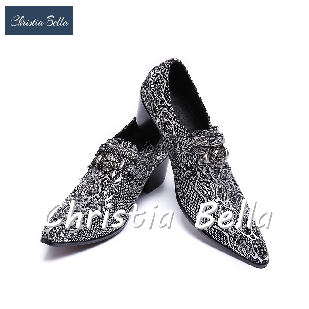 Christia Bella Business Style Pointed Toe Genuine Leather Dress Shoes Men Fashion Brand Wedding Shoes Casual Elevator Shoes