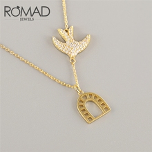 ROMAD 925 Sterling Silver Necklace Bird Zircon Pendant Jewelry Pendants Necklaces For Women Gift bijoux femme collier 2019