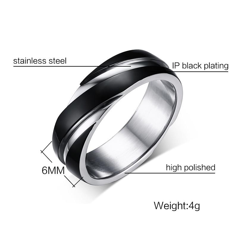 Vnox Wedding Ring for Women Men Stainless Steel Black Rose Gold Color Free velvet bag Gift 5