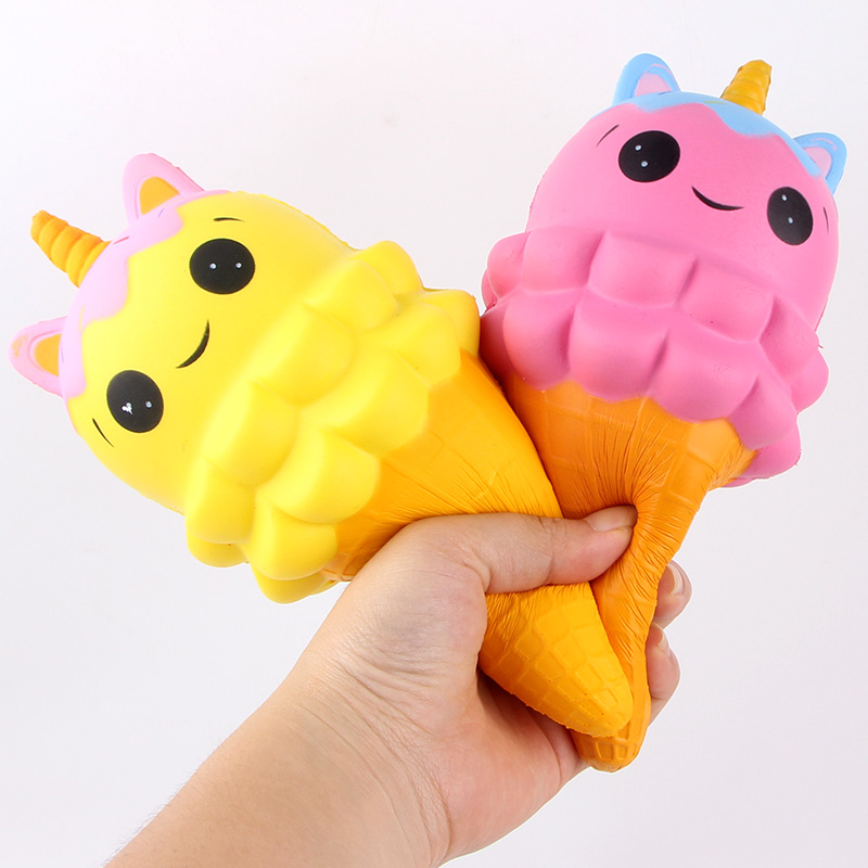 20CM Kawaii Emoji Face Unicorn Ice Cream Squishy Jumbo Slow Rising Soft Squeeze Charms Bread Cake Scented Phone Straps Toys slow resilience relieve pressure toy unicorn cake jumbo squishy