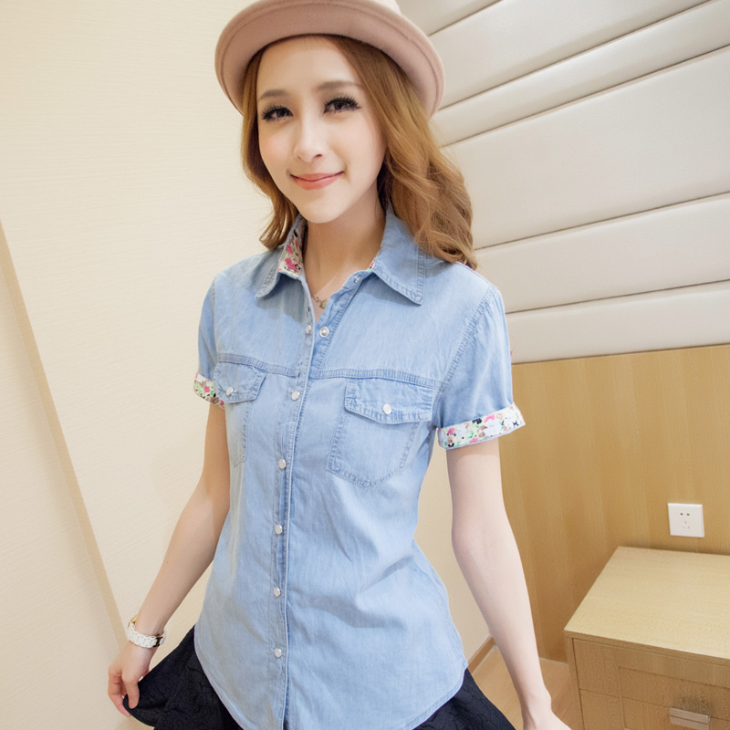 Online Get Cheap Women Short Sleeve Denim Shirt -Aliexpress.com ...