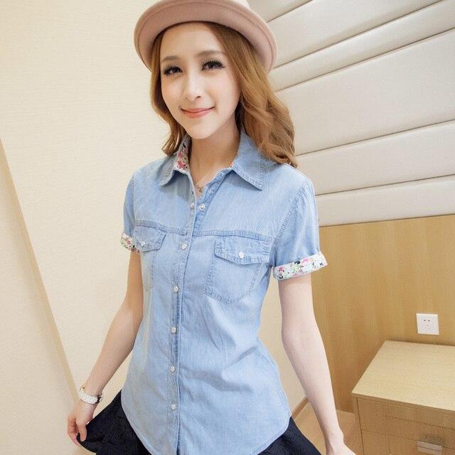2b2f4c65df Free shipping! spring 2019 New women denim shirt short sleeves western slim denim  blouse Casual jeans wear for women
