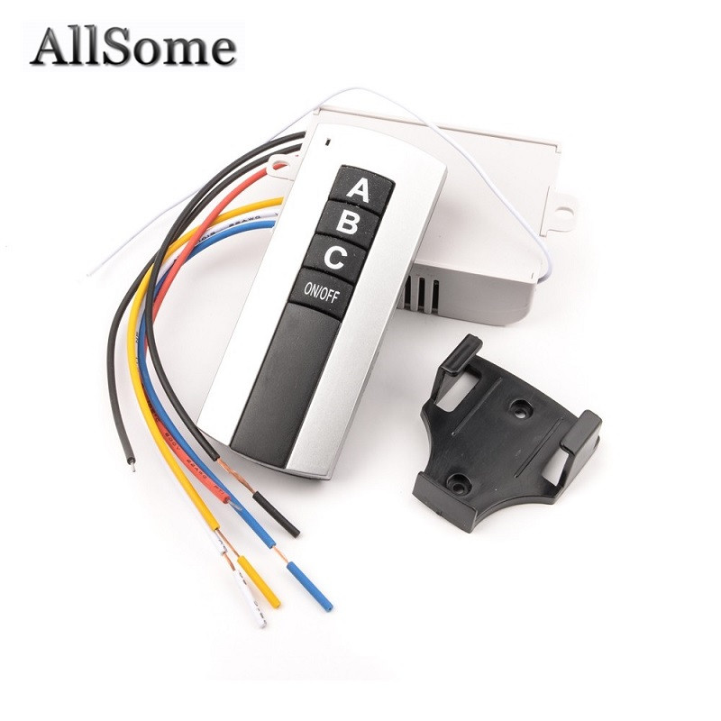 Allsome 3 Way Port ON/OFF Wireless Digital RF Remote Control Switch Receiver Transmitter For Light Lamp 220V HT034+