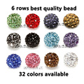 2200pcs/lot DHL Free! 10mm 6 Rows Top Best Quality Micro Crystal Pave Shamballa Bead For Shamballa Jewerly Making,Can Pick Color