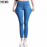 2018 Casual Femmes Jeans taille haute Pantalon Mince Plus La Taille Haute Élastique Denim Pantalon pour femme noir bleu 110 kg