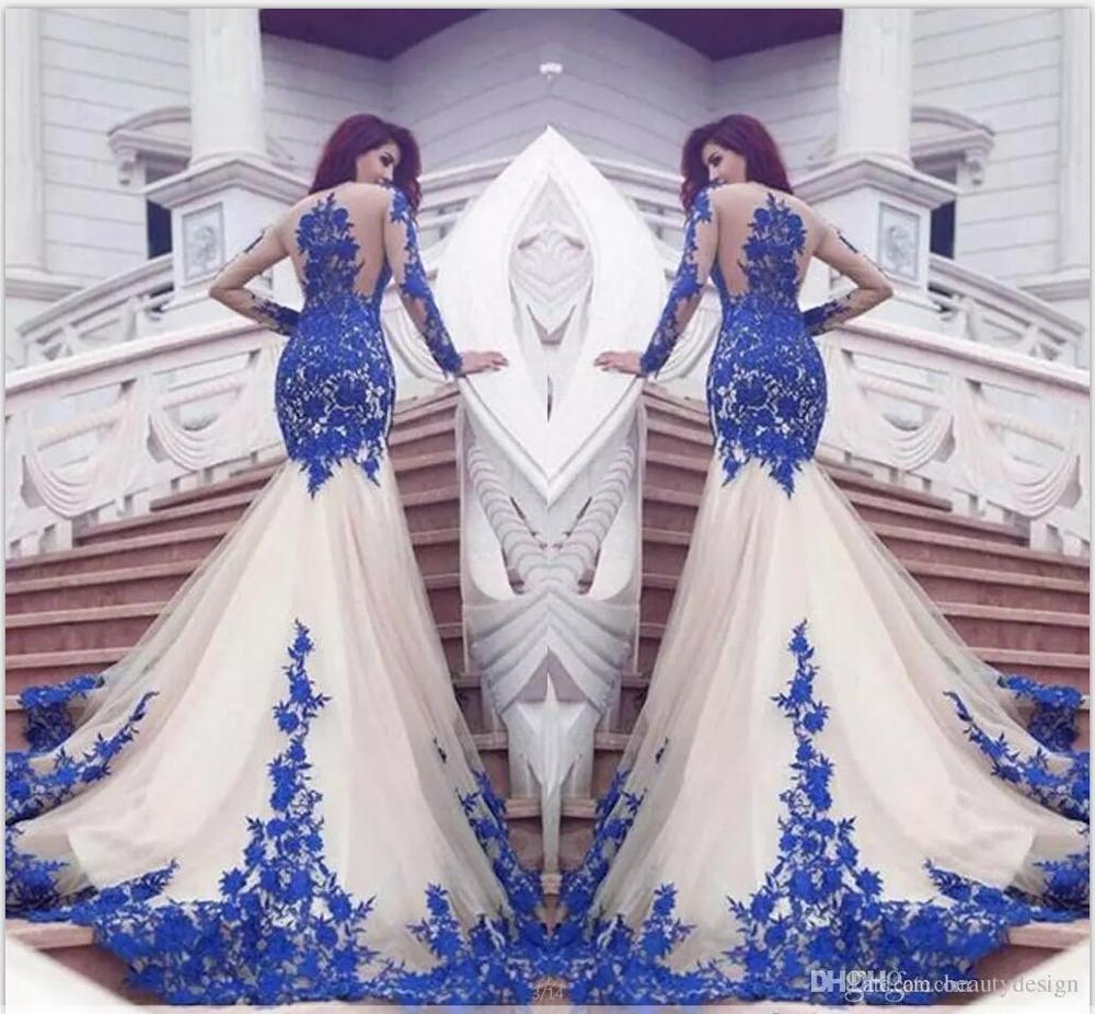 Manches longues sirène soirée femmes robe bleu dentelle Applique formelle fête robe de reconstitution historique