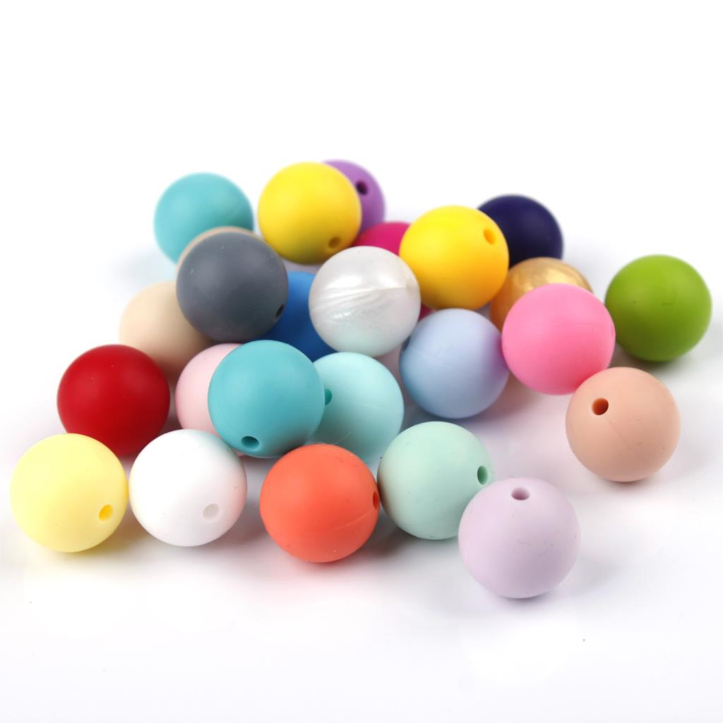 20pc Silicone Beads 15mm Round Bead Bpa Free Diy Silicone Baby Teether Necklace Bracelet Chain Food Grade Teething Beads