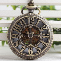 Big Arabic Number Hollow Cross Design Vintage Cut Out Bronze Mechanical Pocket Watch Mens Womens Xmas