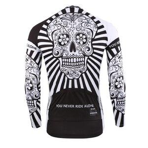 Image 3 - 2019 jesień Pro koszulka kolarska z długim rękawem czaszka Retro mężczyźni koszulka z długim rękawem koszulka nosić zespół Ropa De Ciclismo długi rower Jersery