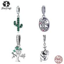 Jiayiqi 925 Sterling Silver Pendant Plant Animal Charms Fit Women Bracelet Necklace DIY New Jewelry Making Bead Girlfriend Gift(China)