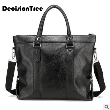 famous Men's Briefcase Leather Laptop Bag 14'' Pu Leather Men Bag Male Messenger Shoulder Bags Men's Crossbody Bags Handbags