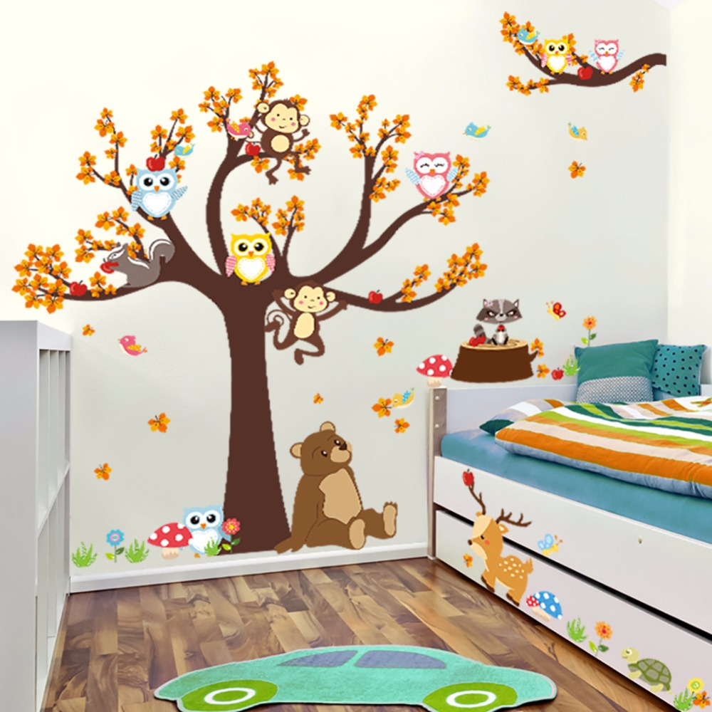 Wild birch forest with owls vinyl wall decal - Cartoon Forest Animals Large Trees Wall Stickers Maple Bear Deer Squirrel Monkey Owls Grass Flowers Wall