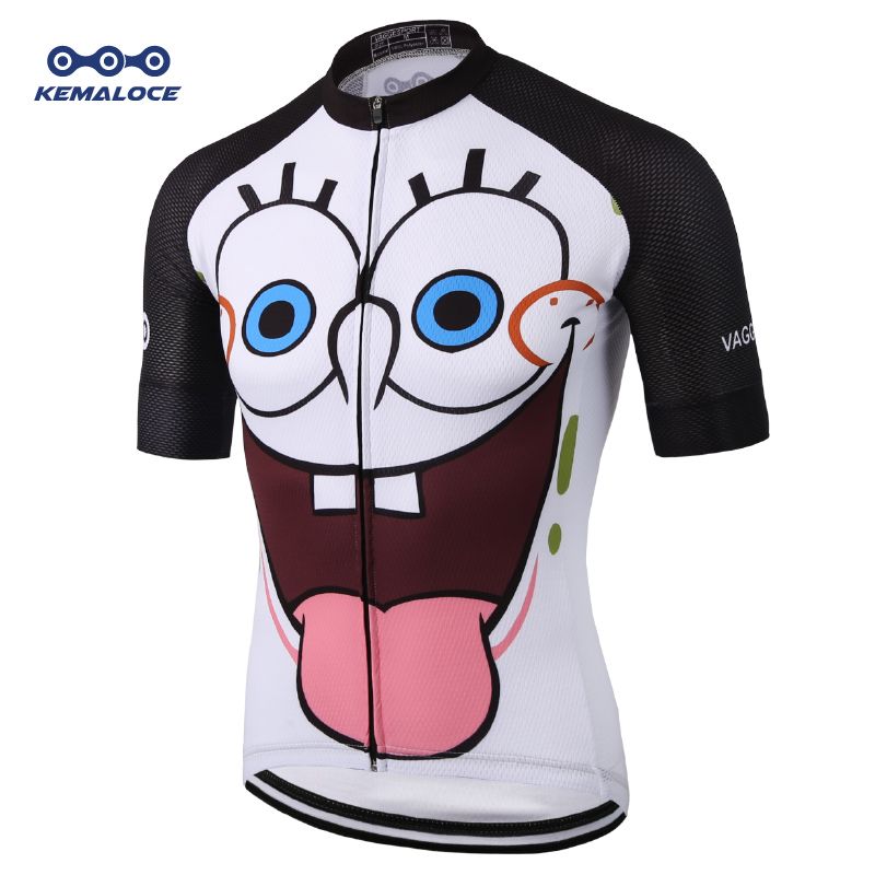 Unique White Sublimation Cycling Jersey Top SBS Zipper Funny Cartoon Men Bike Jersey Quick-dry 100% Polyester Race Cycling Shirt
