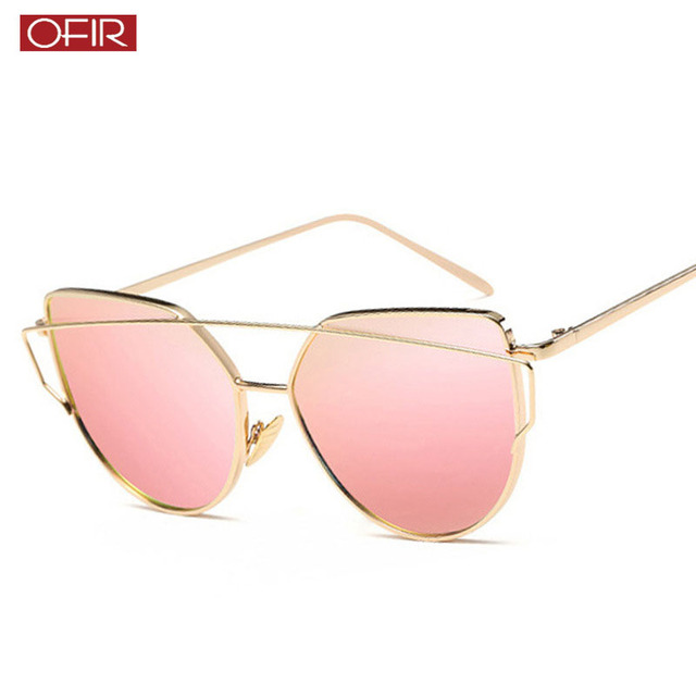 6608201c5 2019 Cat Eye vintage Brand designer rose gold mirror Sunglasses For Women  Metal Reflective flat lens