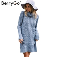 BerryGo Turtleneck High Split Knitting Sweater Women Autumn Winter Long Sleeve 2017 Pullover Pull Femme Streetwear