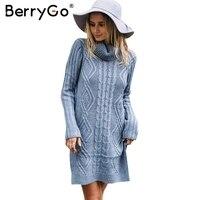 BerryGo Turtleneck High Split Knitting Sweater Women Autumn Winter Long Sleeve 2017 Pullover Pull Femme Streetwear