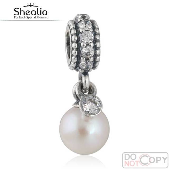 SHEALIA 925 Sterling Silver Freshwater Pearls Pendant Elegance Charms With CZ For Bracelet & Necklace Diy Jewelry Making DG196