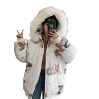 Harajuku Snow Rabbit Cute Vintage Women's Parka Coat Winter Warm Lolita Outwear Jacket with Fur Animal Cutting Hat top