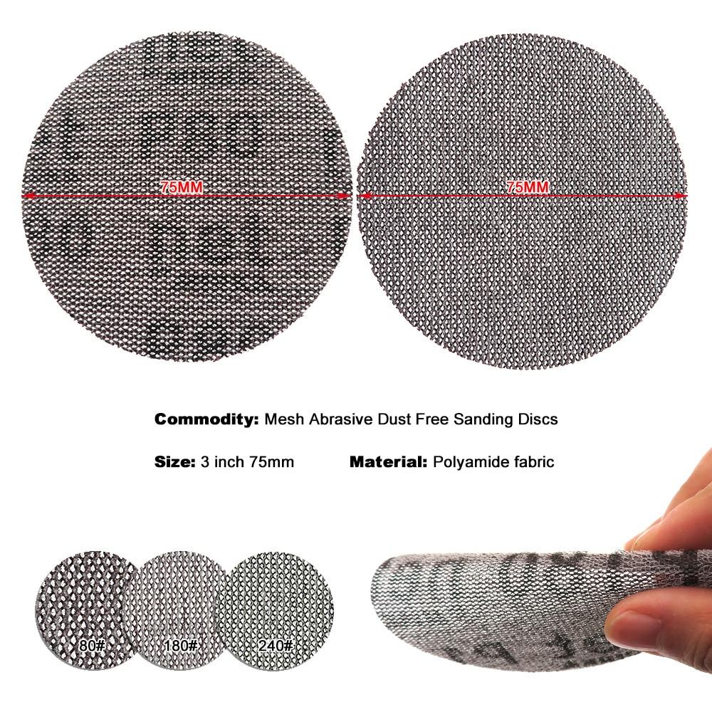 Image 3 - 15 pièces maille Abrasive sans poussière disques abrasifs 3 pouces 75mm Anti blocage sec meulage papier abrasif 80 à 240 grainOutils abrasifs   -