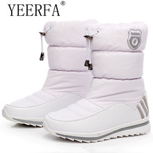 YIERFA Women snow boots 2017 new arrival warm plush winter shoes women platform shoes waterproof non-slip mid-calf boots(China)