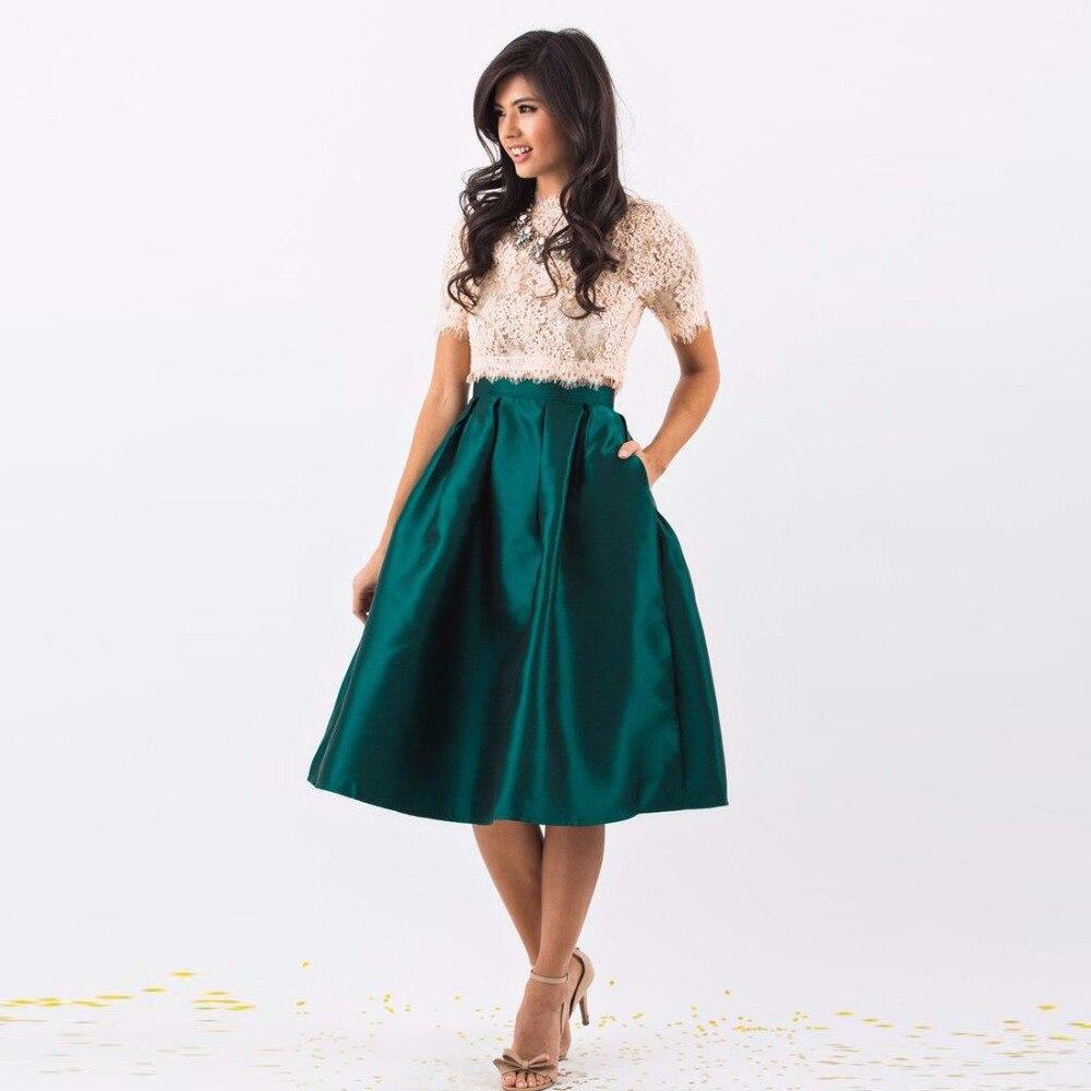 Fashion Mid Calf Satin Skirt 2016 Elegant Skirt For Women