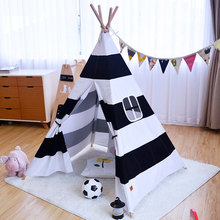 2017 New Black And White Stripe Style Kids Teepee Tent Toy Tent Indian Cotton Canvas Teepee