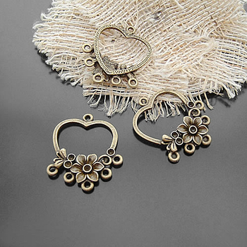 (20281)20PCS 33x27MM Antique Bronze Zinc Alloy with Flower Earrings Connector Charms Jewelry Findings Accessories