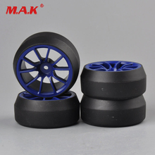 4Pcs/Set 1:10 Scale Black Drift Tires and Purple Wheel Rim with 12mm Hex fit HPI HSP Drift RC On-Road Car Accessories