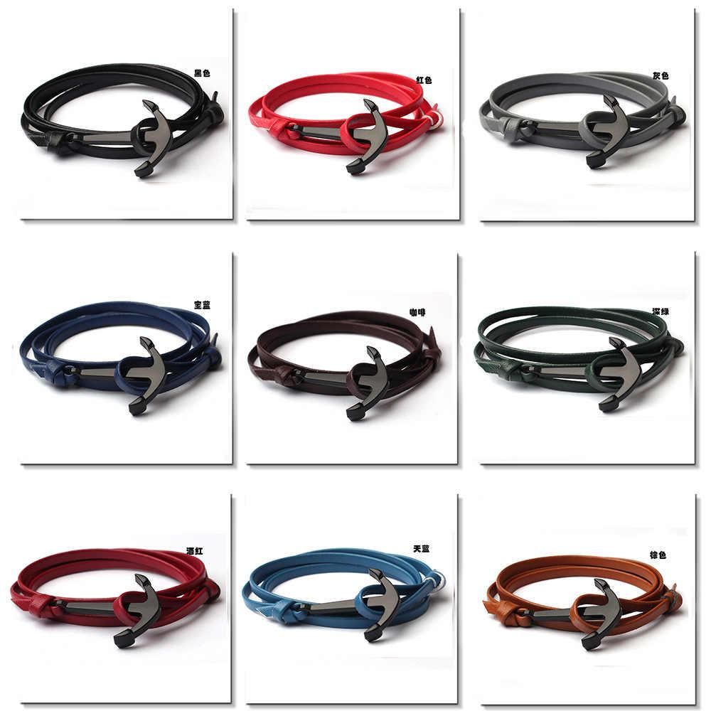 1 pcs vender fishhook âncora strand braceletes âncora preta pulseira de sobrevivência pulseira de amizade de couro masculino e feminino jóias