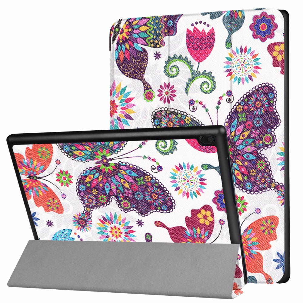 case for 2017 Lenovo TAB 4 10 Plus TB-X704N TB-X704F 10 Tablet Printed art triangle stand protective cover skin case+free gift