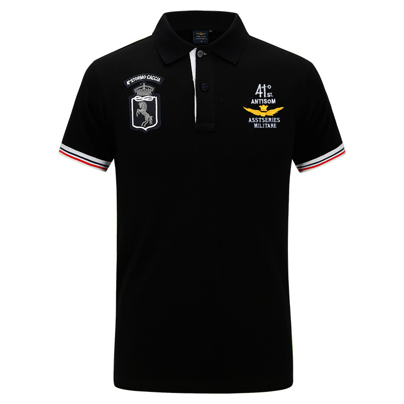 2019summer new men's boutique embroidery breathable 100% cotton   polo   shirt lapel Men's Air Force One   polo   shirt size S-XXXL