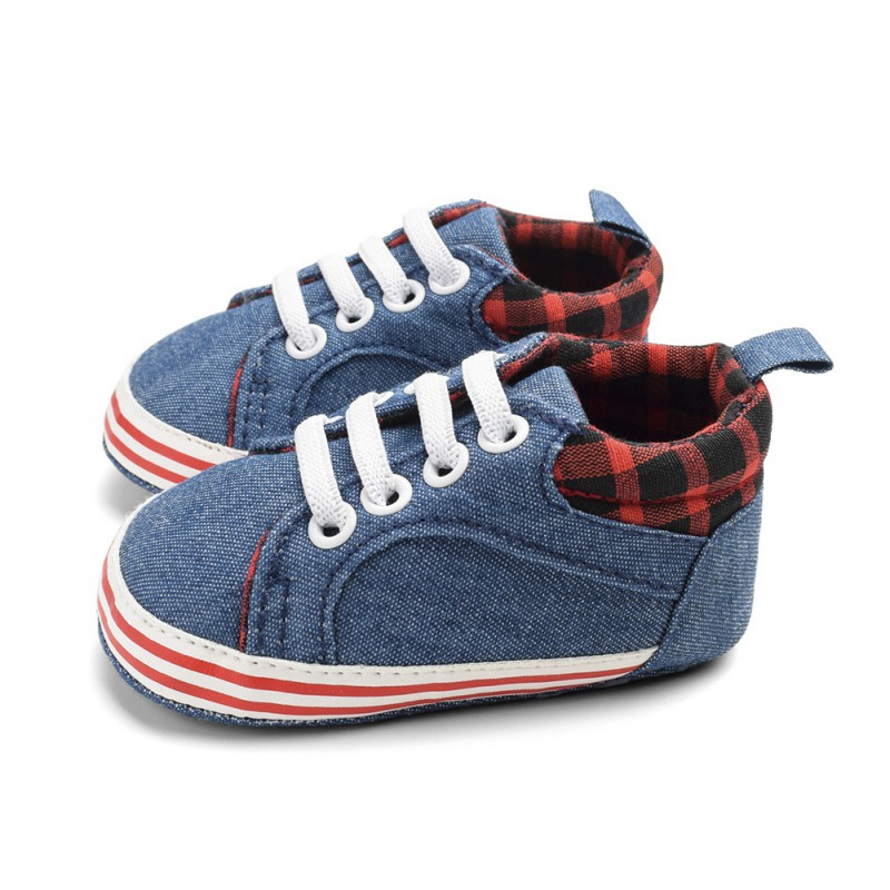 Newborn Infant Baby Boys Girls First Walkers Cowboy Print Canvas Anti-slip Soft Shoes Sneaker Toddler Shoes Infant Baby Shoes