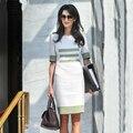 Work Dress 2016 Summer New Fashion Street Women Short Sleeve Stripes Contrast Light Green & White Casual Dress