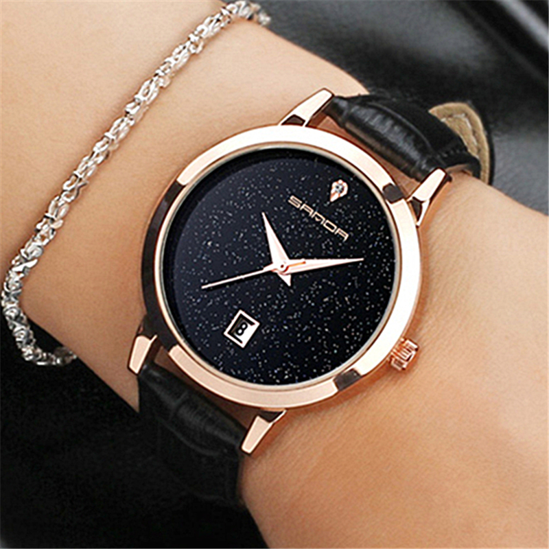SANDA marque quartz montre dames en cuir imperméable à l'eau montre montre de mode romantique femme montre Relogio Faminino
