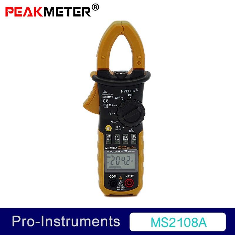 Peakmeter MS2108A Digital Multimeter Amper Clamp Meter Current Clamp Pincers AC/DC Current Voltage Capacitor Resistance Tester digital multimeter ms2108 amper clamp meter current clamp pincers ac dc current voltage capacitor resistance tester