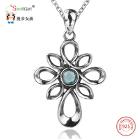 Retro 925 Sterling Silver Cross Style Knot Jewelry Accessories Chain Necklace Women 925 Silver Crystal Stone