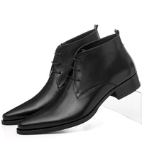 Free Shipping 2013 New Mens Fashion Boots Brand Black Ankle Casual Pointed Toe Boots Man Genuine