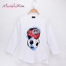 2019 Children Clothes Kids T-shirts Football and Basketball Print 100% Cotton Long Sleeve Child Shirt Boy T Shirts Baby Girl Top