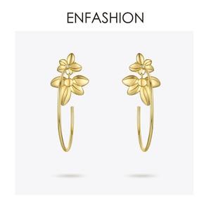 Image 2 - ENFASHIONดอกไม้Hoopต่างหูทองสีงบวงกลมขนาดใหญ่Hoopsต่างหูแฟชั่นเครื่องประดับPendientes Mujer EF191047