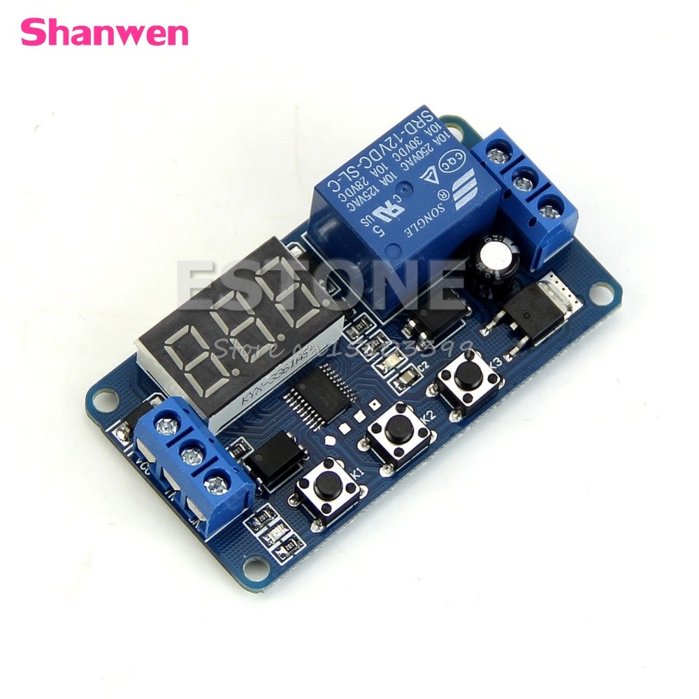 12V LED Home Automation Delay Timer Control Switch Relay Module Digital display G08 Drop ship xd2 pa24 joystick controller spring return joystick switch xd2 pa24cr rotary switches auto reset