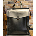 new Retro men backpacks Genuine Crazy horse Leather 14-inch computer backpack bag Students school bag color Brown 39*33*6cm